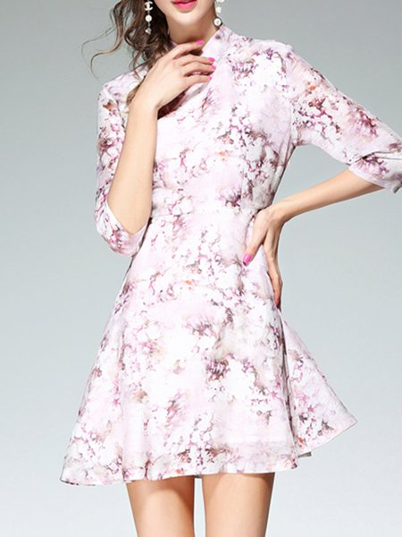 Multicolor 3/4 Sleeve Floral Printed Mini Dress