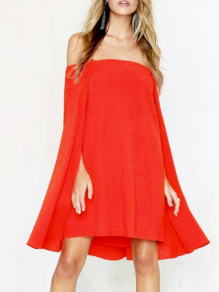 Red Asymmetric Statement Off Shoulder Mini Dress