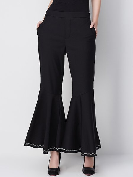 Black Ruffled Plain Statement Flared Pants