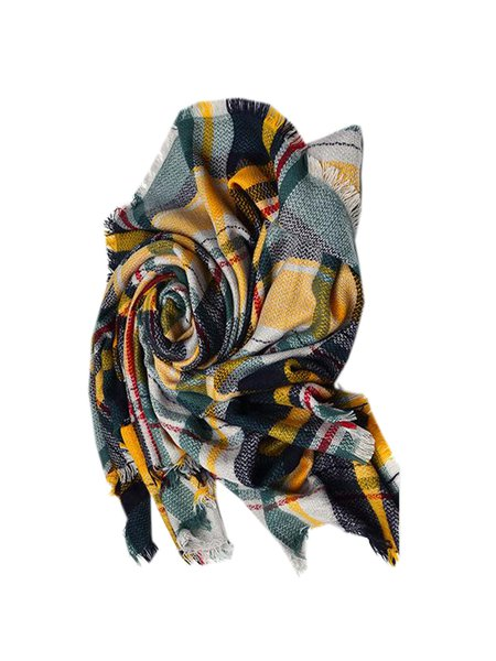 Yellow Checkered/Plaid Acrylic Casual Scarf