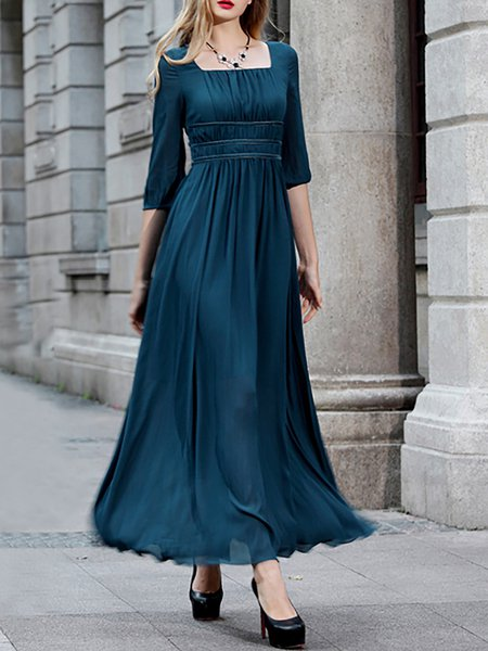 Half Sleeve Square Neck Chiffon Simple Paneled Maxi Dress