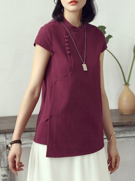 Vintage Stand Collar Plain Short Sleeve Short Sleeved Top
