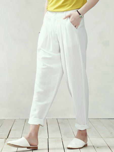White Casual Plain Wide Leg Pants