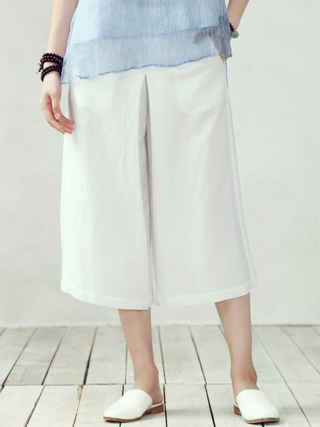 White Casual Pockets Plain Wide Leg Pants