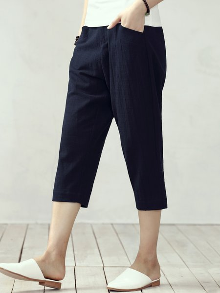 Navy Blue Casual Cotton Wide Leg Pants