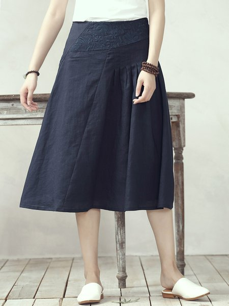 Navy Blue A-line Casual Midi Skirt