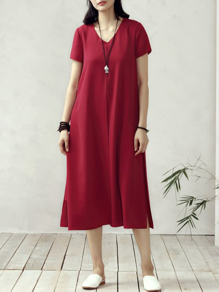 Burgundy Shift Casual V Neck Slit Midi Dress