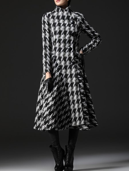Wool Houndstooth Casual Long Sleeve Coat