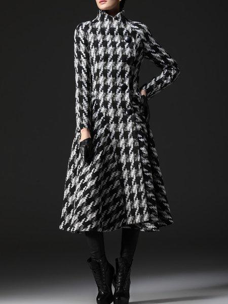 Wool Houndstooth Casual Long Sleeve Coat