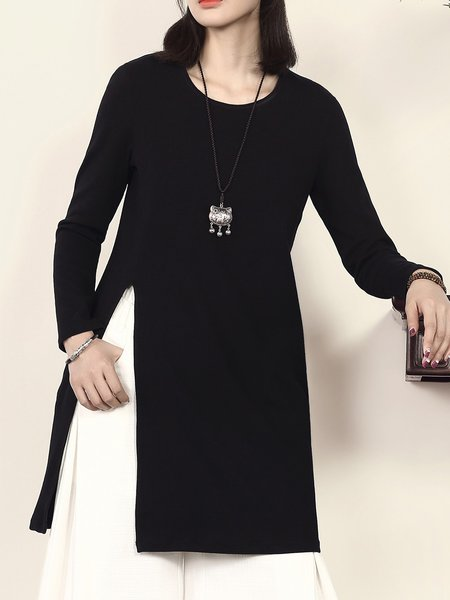 Black Crew Neck Casual Shift Cotton Tunic