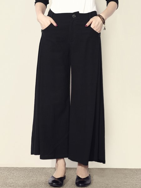 Black Cotton-blend Plain Simple Wide Leg Pants