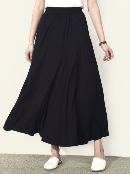 Black Swing Cotton-blend Plain Simple Maxi Skirt