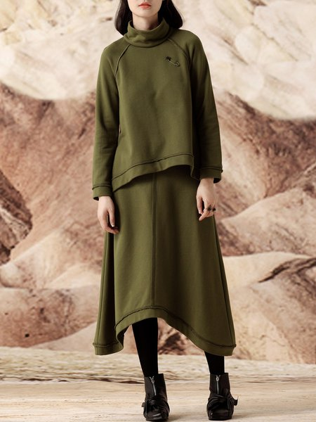 Army Green Solid Long Sleeve Asymmetric Two Piece Midi Dress