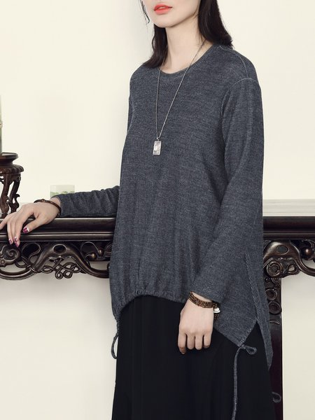 Deep Gray Plain Asymmetric Casual Cotton-blend Tunic