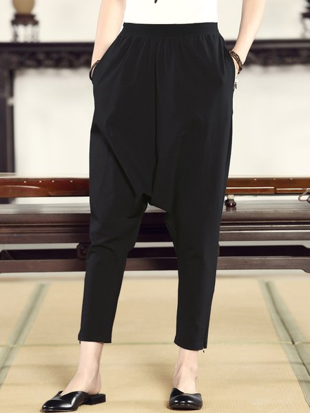 Black Pockets Solid Casual Track Pants