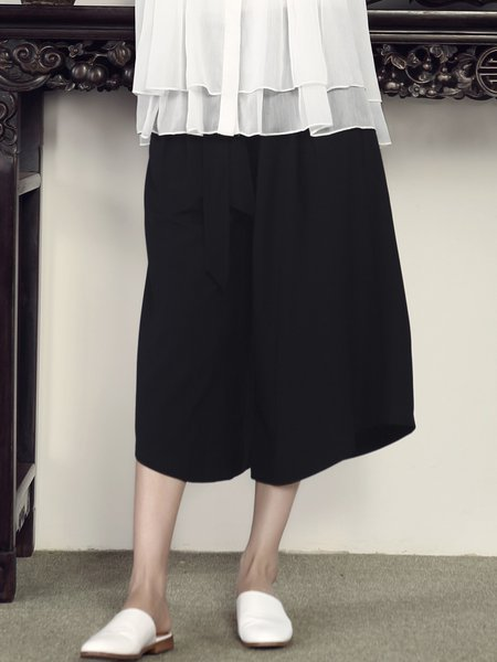 Black Plain Simple Pockets H-line Midi Skirt