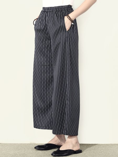 Black A-line Simple Pockets Wide Leg Pants
