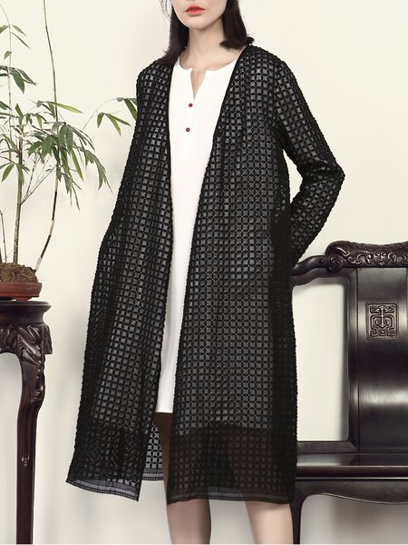 Black Plain Long Sleeve Pockets Coat