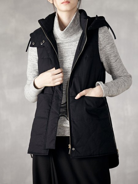 Black Pockets Hoodie Solid Sleeveless Vests And Gilet