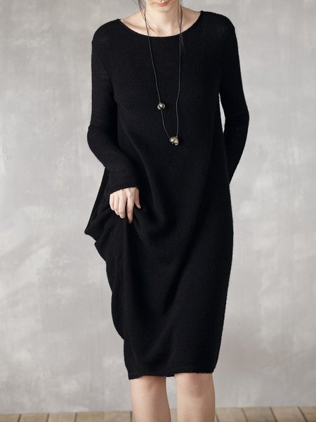 Long Sleeve Crew Neck Solid Simple Asymmetrical Sweater Dress