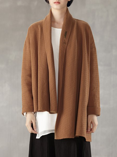 Simple Asymmetrical Cotton Plain Long Sleeve Coat With Brooch