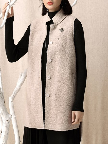 Wool Nude H-line Buttoned Pockets Vests And Gilet