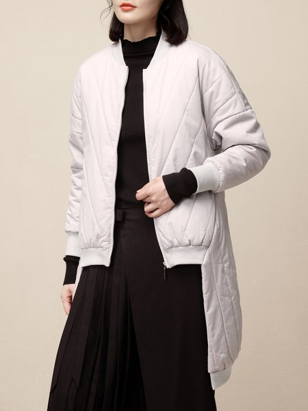 Light Gray Simple Pockets Crew Neck Asymmetrical Cotton Coat