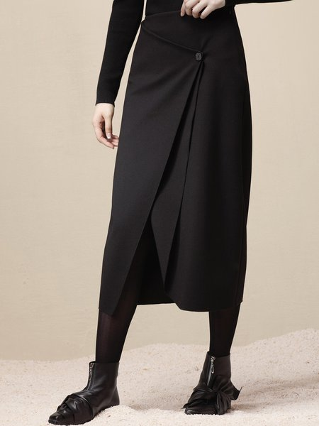 Black Simple Solid Buttoned Nylon Midi Skirt