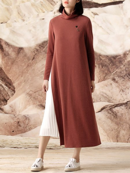Two Piece Rust Knitted Casual Turtleneck Slit Midi Dress