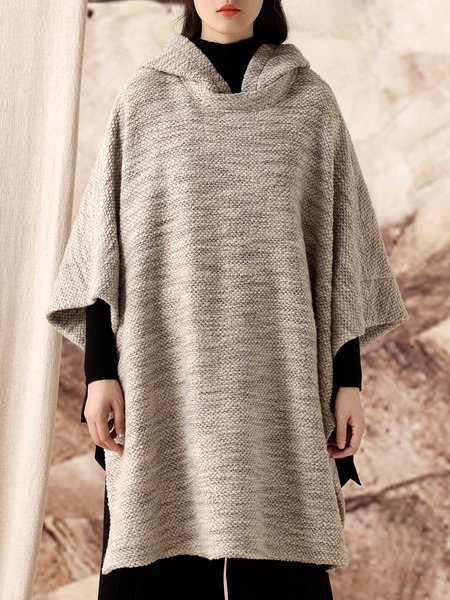 Shift Long Sleeve Slit Hoodie Casual Poncho And Cape