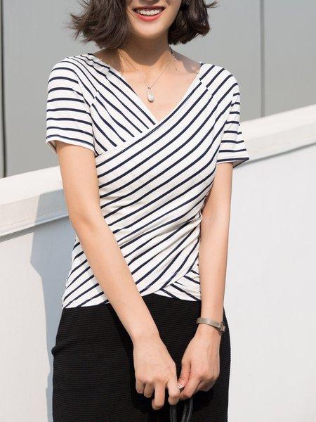Surplice Neck Casual Stripes Cotton-blend Short Sleeve T-Shirt
