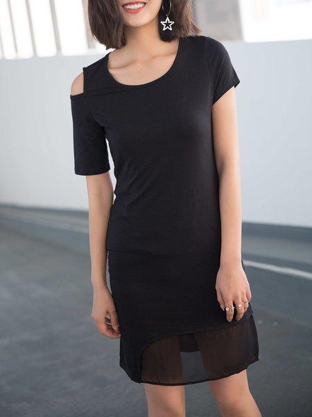 Short Sleeve Sheath Solid Paneled Cutout Casual Mini Dress