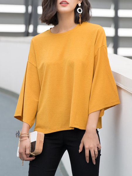 Yellow Batwing Solid Crew Neck Long Sleeved Top