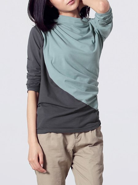 Casual Stand Collar Color-block Cotton-blend Long Sleeve Top