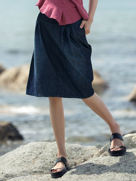 Blue A-line Casual Denim Midi Skirt