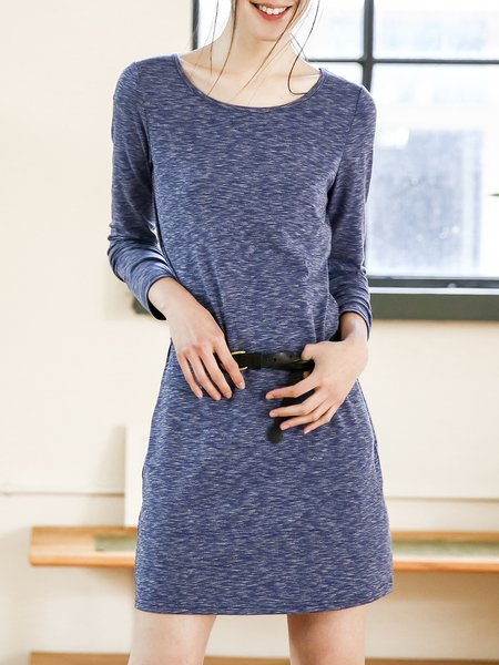 Blue Casual Boat Neck Plain Mini Dress