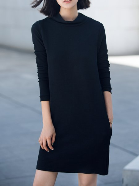 Plain Casual Turtleneck Long Sleeve Midi Dress