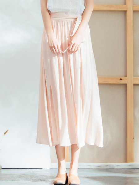 Pink Simple Pleated Solid Maxi Skirt