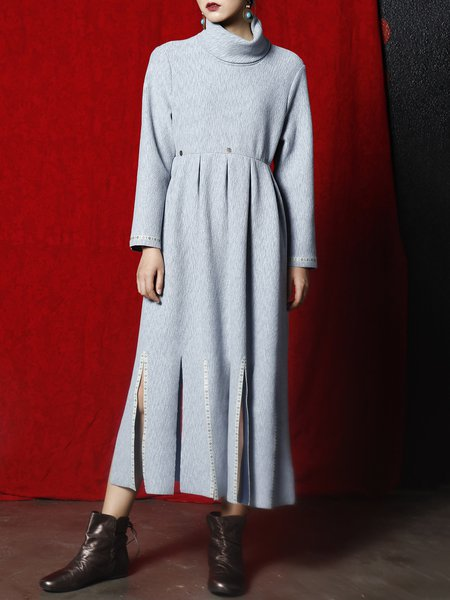 Simple Long Sleeve Plain Slit Midi Dress