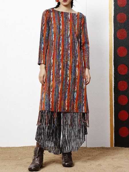 Colorful Vintage Printed Long Sleeve Midi Dress