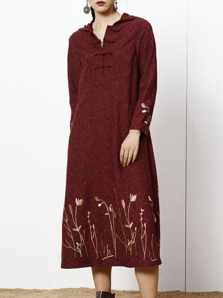 Burgundy Casual Printed Midi Dress