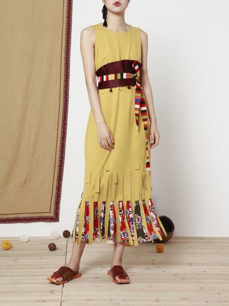 Yellow Sleeveless A-line Maxi Dress