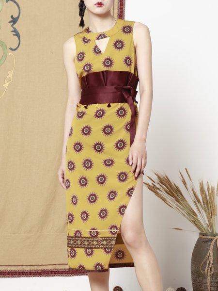 Yellow Sleeveless Keyhole Maxi Dress