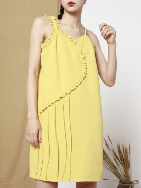 Yellow Asymmetric Statement Polyester Mini Dress