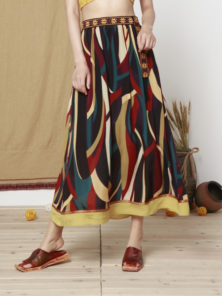 Multicolor Silk Abstract Printed Casual Maxi Skirt