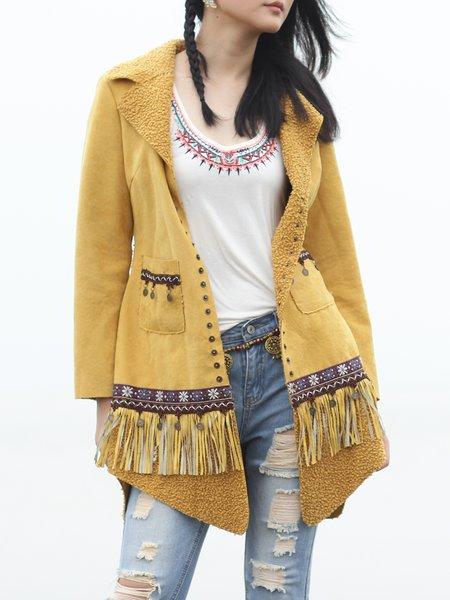 Yellow Pockets Long Sleeve Fringed Coat