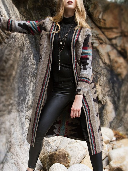 Gray Long Sleeve Wool Knitted Tribal Coat