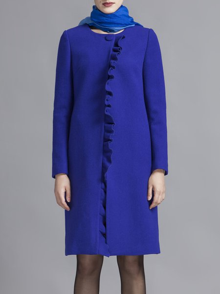 Royal Blue Simple A-line Ruffled Wool-blend Coat