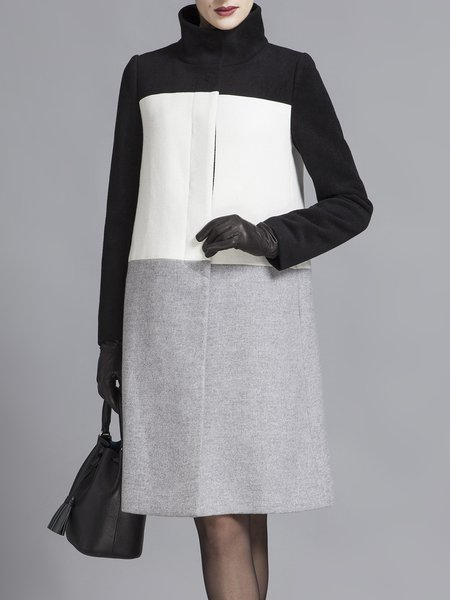 White Wool-blend H-line Color-block Simple Coat
