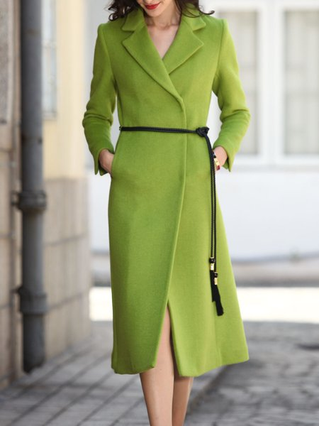 Green Wool-blend Lapel Simple Plain Coat with Belt